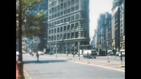 New York 1960s: View of historical skyscraper The Flatiron Building or Fuller