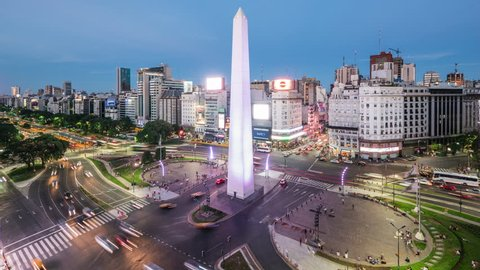 Buenos Aires, Argentina - January 20, 2018: Time lapse view of the Obelisk of Buenos Aires and 9 de Julio Ave, the widest avenue in the world. Zoom in.