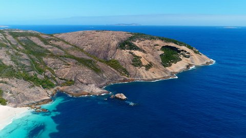 Aerial view of picturesque coastline of Hellfire Bay, paradise beach with white sand and crystal clear waters of Southern Ocean - Cape Le Grand, Esperance, Western Australia from above, 4k UHD