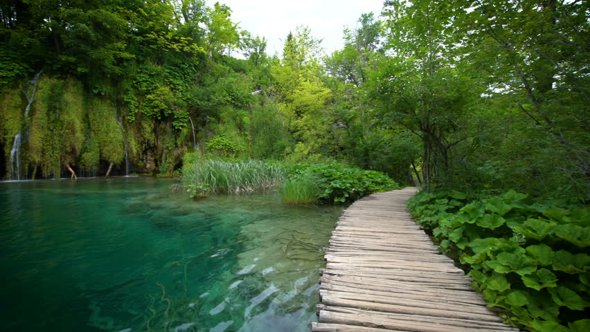 Beautiful waterfall cascade scenery of Plitvice Lakes, Croatia. Nature landscape of Plitvice Lakes National Park is the UNESCO World Heritage in mountain Karst area of central Croatia.