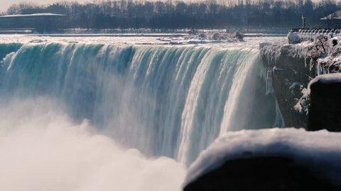 A waterfall in the shape of a horseshoe in the winter season. The famous Niagara Falls