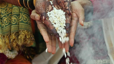 Indian Hindu wedding rituals in slow motion shot at 100 fps
