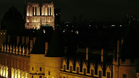 Aerial view of Notre-Dame de Paris cathedral shot by night