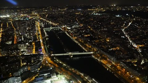 A Stunning Bird S Eye View Of The Seine Banks Historic Bridges Antique Buildings Streets Covered With Golden Beams At Night In Autumn
