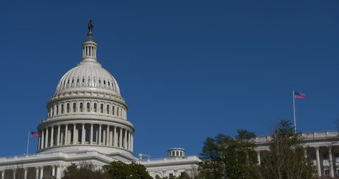 US Capitol Dome with a beautiful bright blue sky with US flags