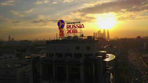 MOSCOW, RUSSIA - SEPTEMBER 3 2017: moscow city world cup 2018 light box on rooftop aerial sunset panorama 4k circa september 3 2017 moscow, russia.
