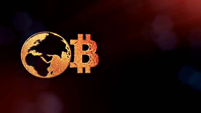 Sign of bitcoin and earth, the globe. Financial background made of glow particles as vitrtual hologram. Shiny 3D loop animation with depth of field, bokeh and copy space. Dark background v2 | Shutterstock HD Video #1008432874