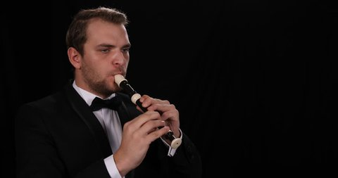 Young Instrumentalist Man Sing Flutist Singer Play Recorder Performing Symphony
