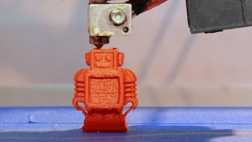 Automatic 3D printer performs product creation. Three dimensional 3D printing and additive manufacturing and robotic automation technology.   Shutterstock HD Video #1008463474