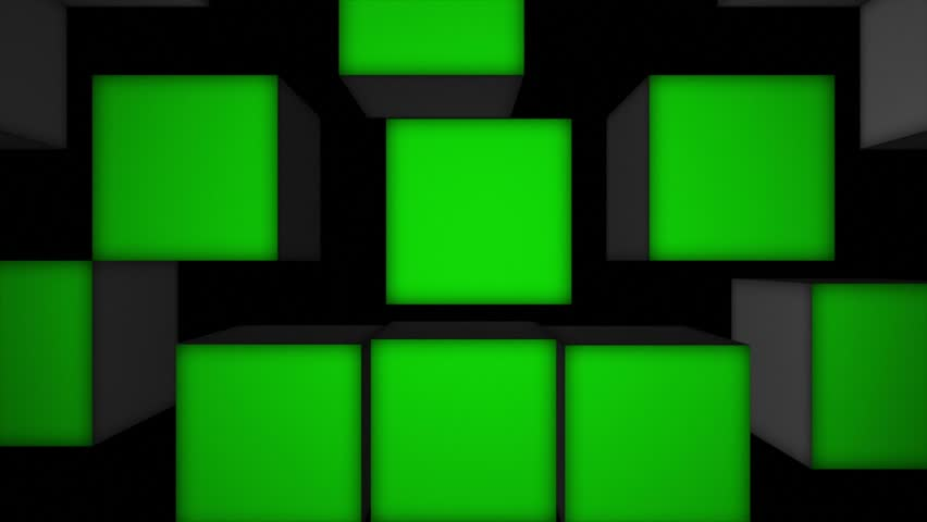 Falling Green Screen Cubes Animation, Rendering, Background, with Alpha Channel, Loop, 4k