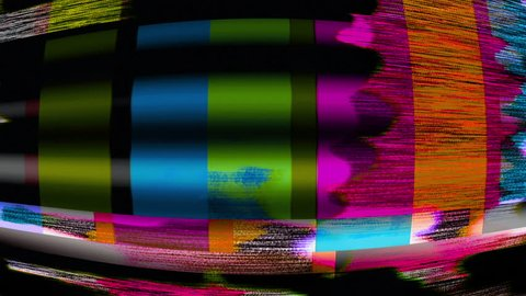 TV Noise: TV color bars test card malfunction (Loop).