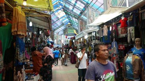 Kuala Lumpur,Malaysia - March 11th,2018 :4k footage of  Malaysians shopping at the famous Tunku Abdul Rahman Street   or Jalan TAR which crowded during Ramadan.