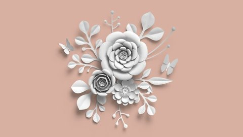 3d render, growing flowers, blush rose background, paper flowers, blooming botanical pattern, round floral bouquet, papercraft, pastel color, 4k animation