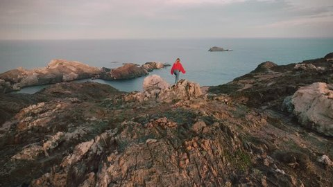 Epic and inspiring drone footage of young happy and excited woman adventurer with best friend dog pet stand on top of mountain in amazing scenery landscape.