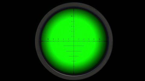 Sniper scope or optical sight on green screen. Sniper scope or optical sight for editing. Gun sight.