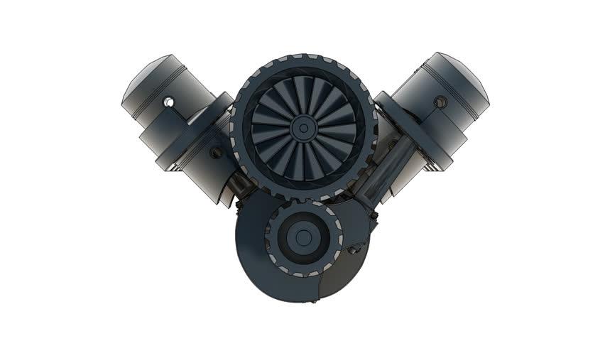 V8 chromium toon engine 3D (HD, 30fps, loop, 3d render) 1080p