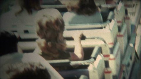 VALENCIA, CALIFORNIA. USA - JULY 1976: A classic look at the Magic Mountain amusement park roller coaster.