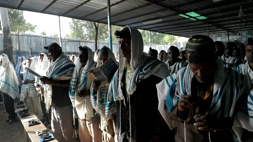GONDAR, ETHIOPIA - JANUARY 18, 2017: Ethiopia Falash Mura Jews community Phylacteries prayers Tefillin synagogue.   #1008688534