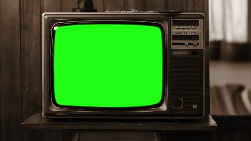 80s Television with Green Screen. Sepia Color. Zoom In. Slow.  #1008696184