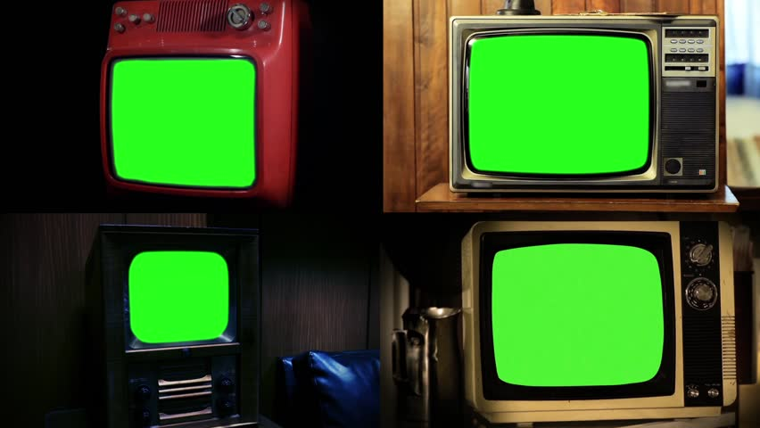 MONTAGE Compilation: Old Vintage Televisions with Green Screen. Different Ages and Technology. Ready to replace green screen with any footage or picture you want. Full HD.  | Shutterstock HD Video #1008696484