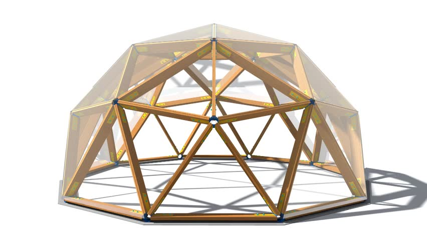 Geodesic dome circular span. Futuristic design of the future building on Mars. 3D rendering. | Shutterstock HD Video #1008706504