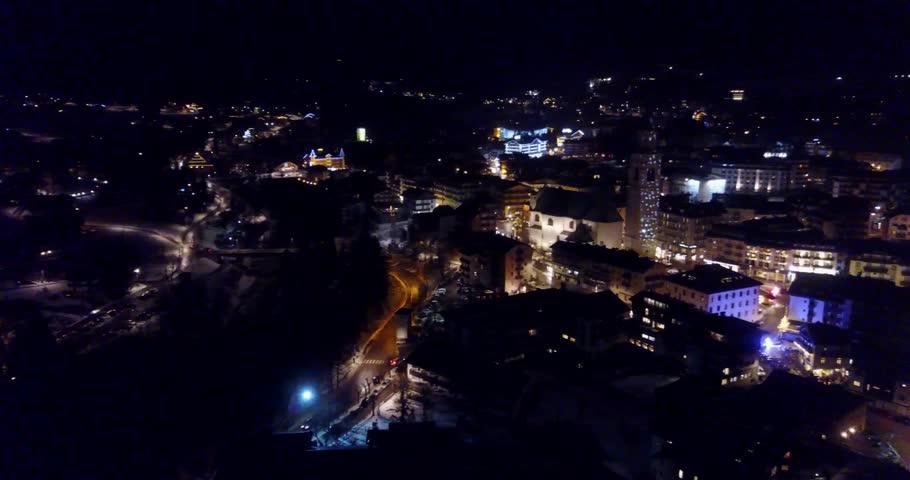 Cortina D'Ampezzo panoramic aerial view at night.