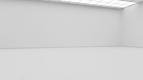Blank white gallery background mock up isolated, constant camera rotation 3d rendering. Clear gallery interior with plain surface. Art design empty room