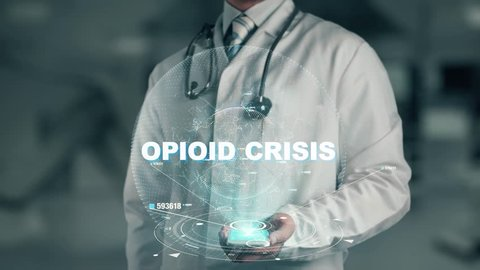 Doctor holding in hand Opioid Crisis