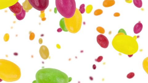 Jelly Beans falling down on white background (vertical, seamless loopable) with alpha mask in black and white from 0:30 in 4K UHD footage