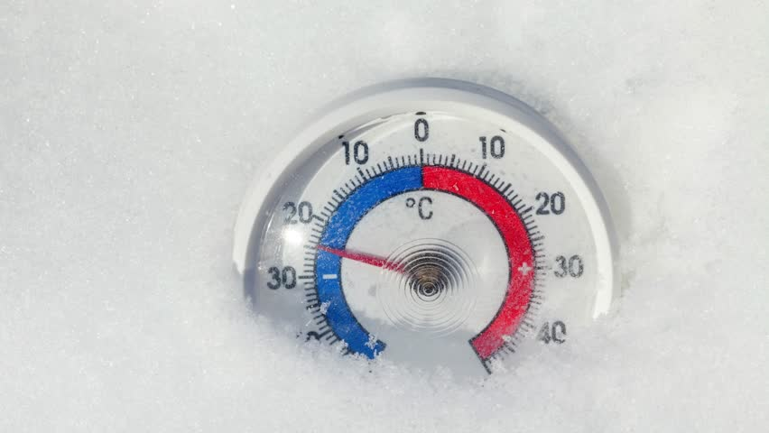Thermometer with Celsius scale placed in snow showing temperature rise from minus 25 degrees to zero - spring weather change or global warming concept | Shutterstock HD Video #1008810734