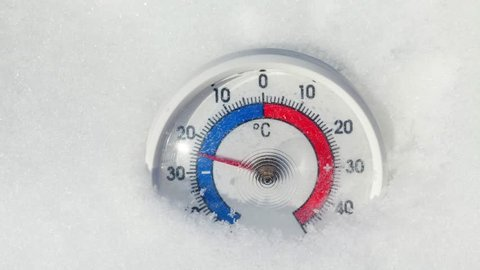 Thermometer with Celsius scale placed in snow showing temperature rise from minus 25 degrees to zero - spring weather change or global warming concept