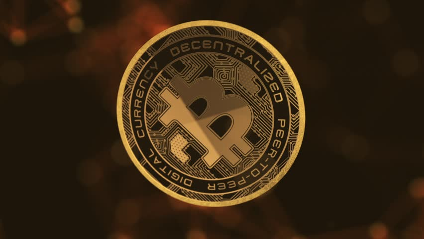 Bitcoin moving in 3D space Animation   Seamless Looping Animated Motion Background