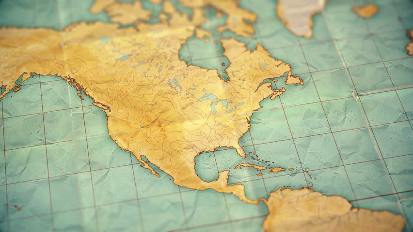 Zoom in from World Map to North America. Old well used world map with crumpled paper and distressed folds. Vintage sepia colors. Blank version  | Shutterstock HD Video #1008831554