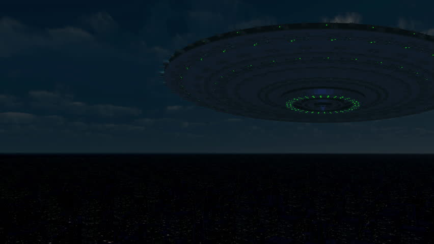 Gigantic Flying Saucer over City Animation