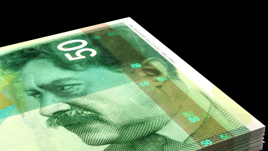 Counting New Israeli Shekel (with alpha channel) 3D rendering