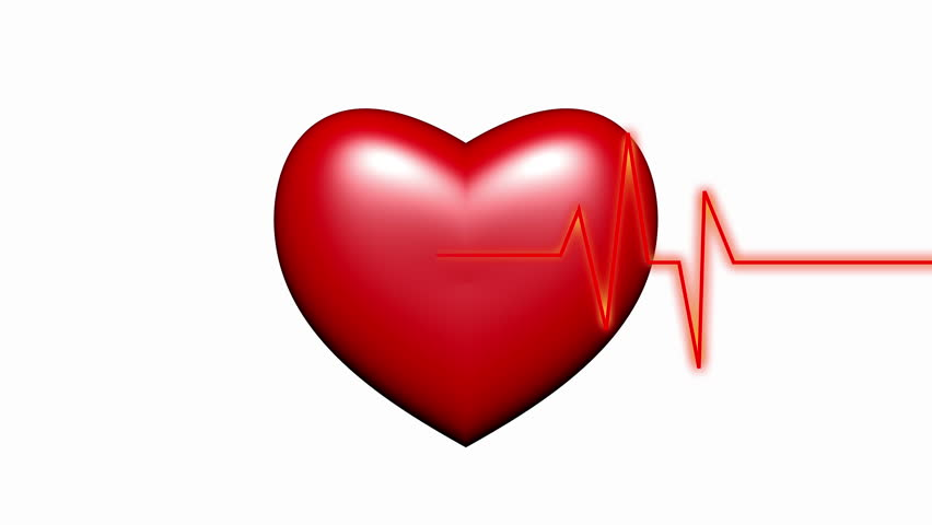 4k Heart beat cardiogram with red heart background,heart monitor EKG electrocardiogram pulse.