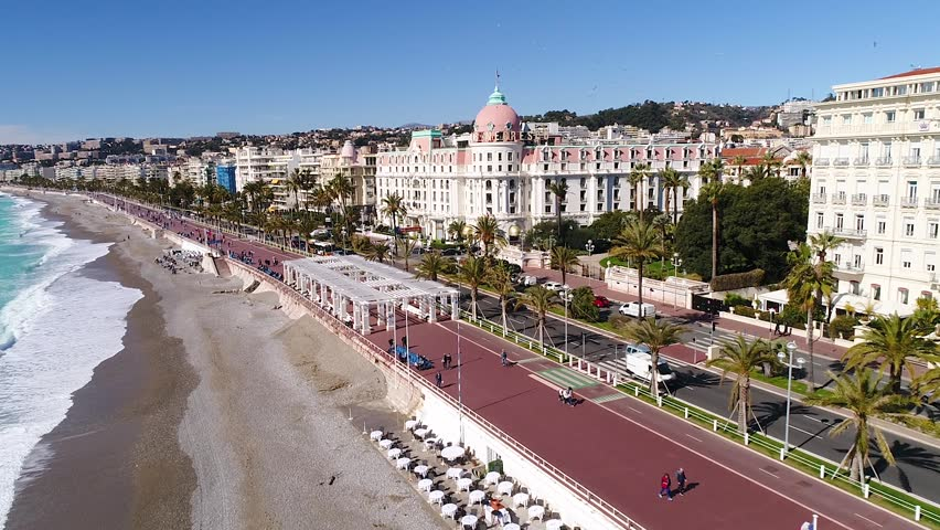 Nice, France, 28 February 2018, Aerial view of promenade des Anglais and Negresco Hotel, Cote d'Azur, HD (1920X1080)