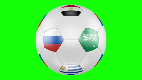 Soccer ball showing inter-group matches, according to the schedule. Green screen. Football Russia 2018, group A flags of Russia, Egypt, Saudi Arabia, Uruguay.