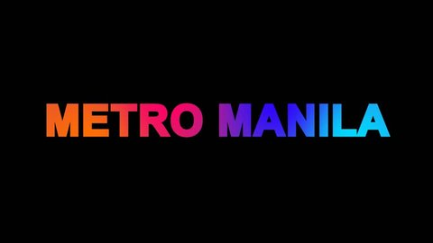 Big city METRO MANILA multi-colored appear then disappear under the lightning strikes changing color. Alpha channel Premultiplied - Matted with color black