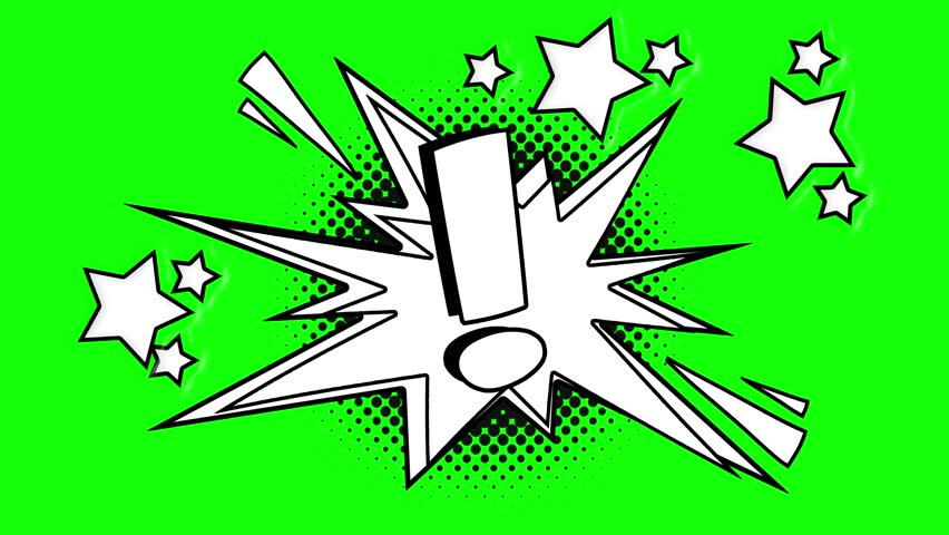 Comic animated exclamation point . Green screen