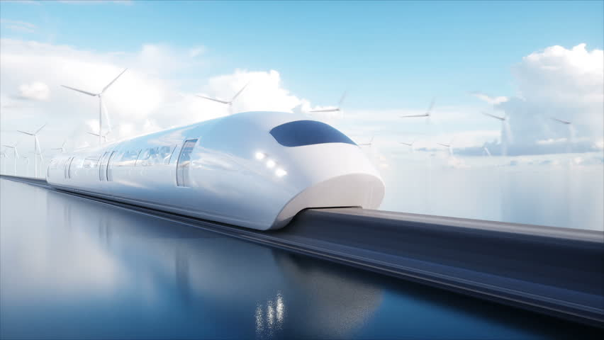 Speedly Futuristic monorail train . Concept of future. People and robots. Water and wind energy. Realistic 4K animation. | Shutterstock HD Video #1009024904