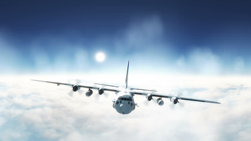 C-130 Hercules free flight, raising above the clouds. Military plane flight. Cargo plane | Shutterstock HD Video #1009047104