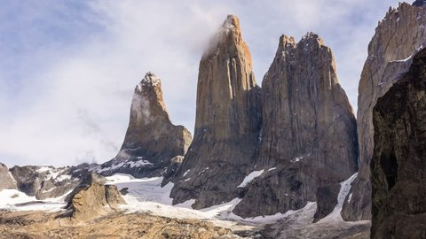 A time lapse of the movement of the clouds in Torres Del Paine in Chile