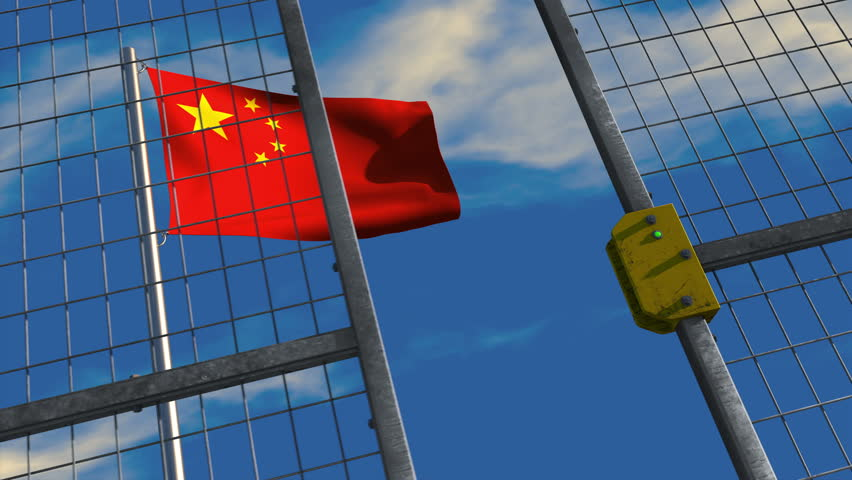 3D animation of a Chinese flag waving on a flagpole with a security gate closing and locking in the foreground; depicting barriers to trade and immigration.