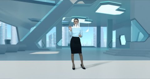 Businesswoman working holographic virtual HUD interface modern futuristic interior. Woman girl touching touch screen. Diagrams appearing Virtual Augmented Reality future touchscreen technology