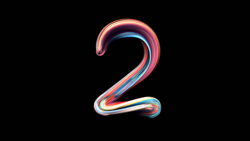 Number 2 - Playdough numbers 3D animation, with alpha channel for titles and intros.