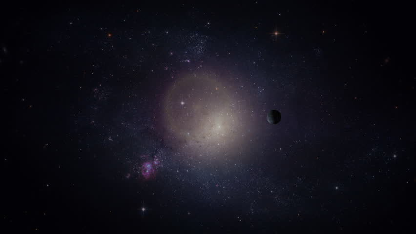Space travel and planet. Dark science background with unknown world and cosmos filled with stars. | Shutterstock HD Video #1009207154