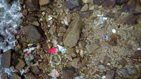 Marine plastic waste in Hong Kong.