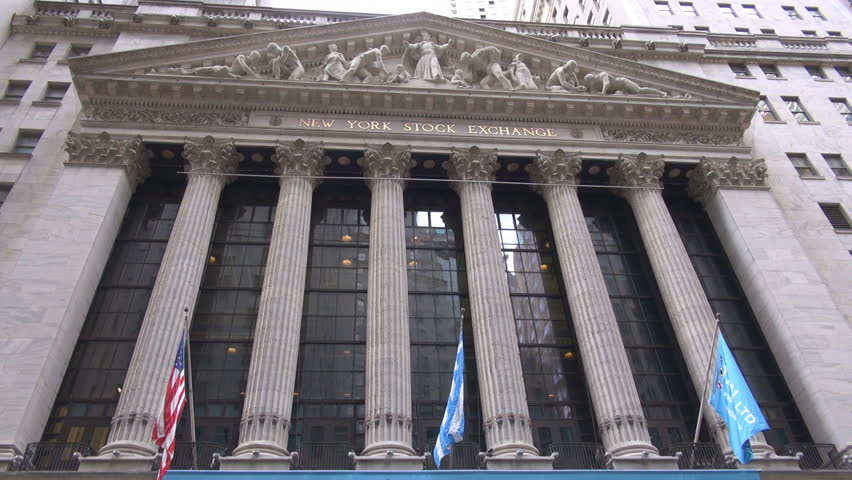 Famous New York City Stock Exchange building architecture by day, financial area