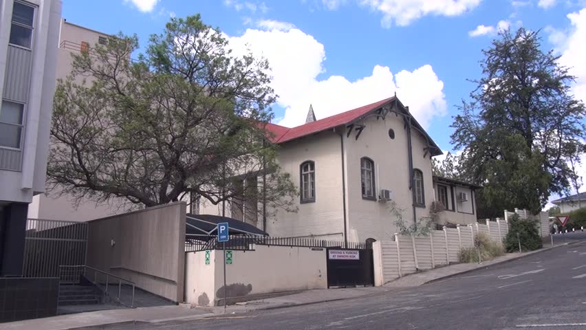 HD high quality summer day video footage of old vintage colonial German house near historical center of Windhoek, the capital of Namibia, southern Africa
